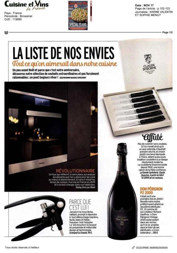 Cuisine et Vins de France - Novembre 2017