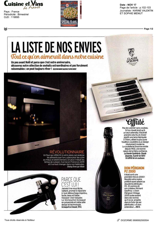 Cuisine Et Vins De France Novembre 2017 Claude Dozorme